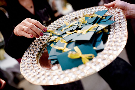 Great closeup photo of lottery on expensive tray with brilliant Foto de archivo