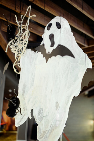 halloween decorations : ghost, spiders, web
