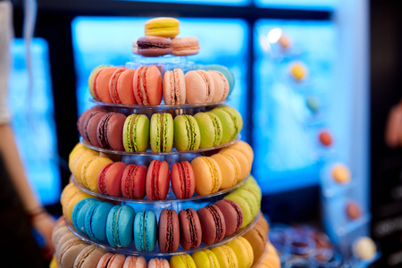 coloured macaroon tower with different flavors