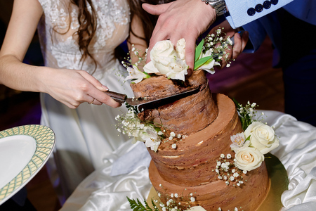 the newlyweds cut off the first piece of the brown wedding cake at the wedding on the table Stockfoto