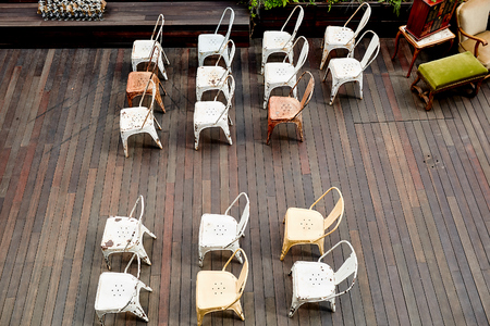 chairs arranged on-site registration at the wedding outdoors