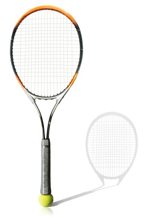 Tennis ball and racket the white background Stock Photo