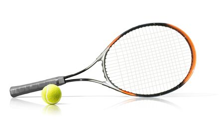 Tennis racket and ball. Isolated on the white background