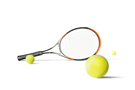 Tennis balls and racquet isolated the white background. Sport