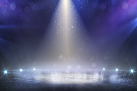 Stage light and glitter lights on floor. Realistic ray. Abstract background for display your product