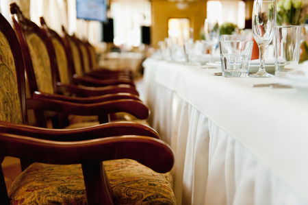 catered: chair set for wedding or another catered event dinner
