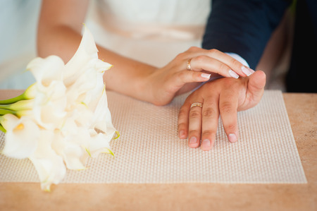 husband and wife: Happy love  couple holding hands in the morning at outdoor Stock Photo
