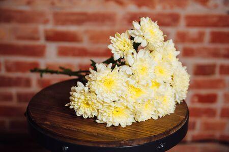 marguerite: bouquet de chrysanth�mes sur une plaque de bois. Banque d'images