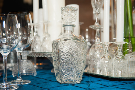 decanter: Table setting for wedding or other event with decanter