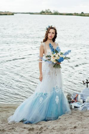 Beautiful Young Bride Woman In Luxury Wedding Dress With Red.. Stock ...