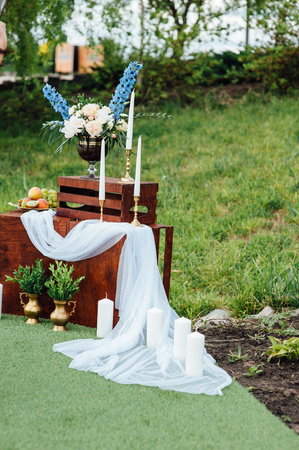original bike: Wedding photo zone. Wedding decoration in Provence style.