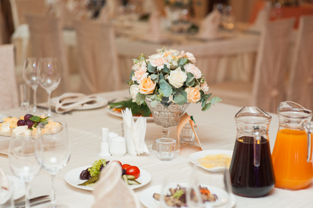 table set for wedding or another catered event dinner ceremony Stock Photo
