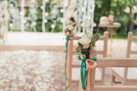 chair set for wedding or another event or visiting ceremony Stock Photo