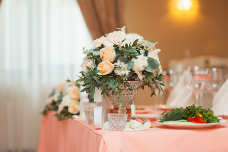 catered: table set for wedding or another catered event dinner ceremony Stock Photo