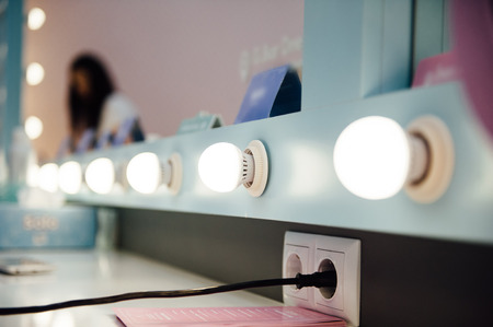 beaty: Womans makeup place with mirror in beaty salon