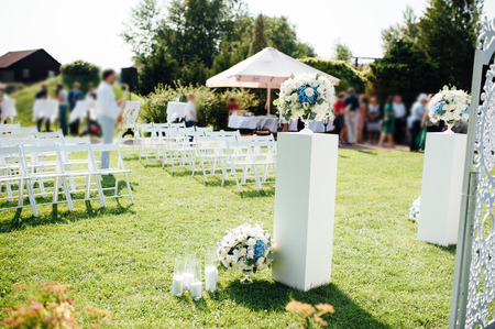set up: details of beautiful wedding ceremony in the park on a sunny Stock Photo