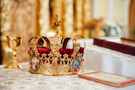 various accessories for the wedding in the church in Ukraine. Bowl crown ring