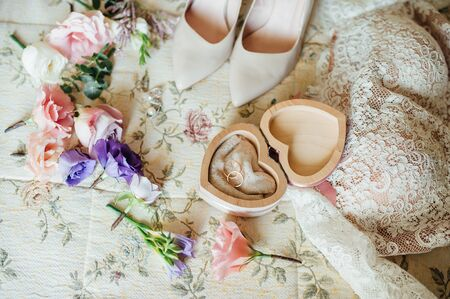 wedding accessories: close up by bridal wedding accessories on dressing table. Stock Photo