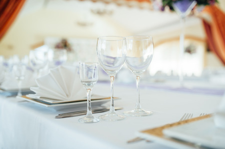 catered: table set for wedding or another catered event dinner ceremony. for newlyweds