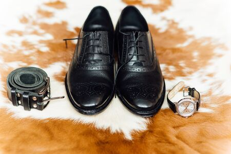 Set of groom clothes. Wedding rings, shoes, cufflinks and bow tie detalis fashion on the skin of wild animal