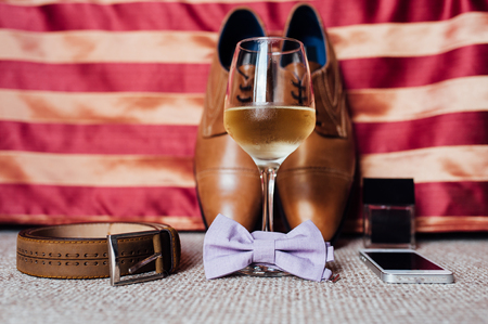 groom set clothes. Wedding shoes, bow tie, phone