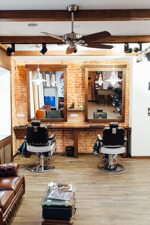 interior of a barber in a loft style