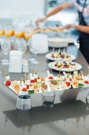 Snacks, fish and meat specialities on the buffet.