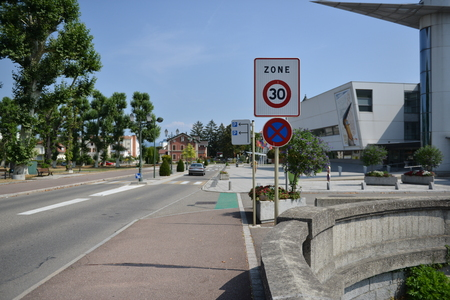 Traffic warning signs for drivers and pedestrians Stock fotó