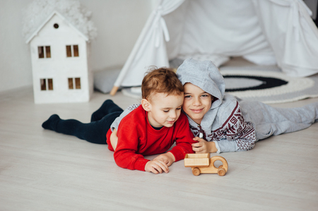 Two funny boys play together. Cute happy brothers smiling and having fun Standard-Bild - 116292779