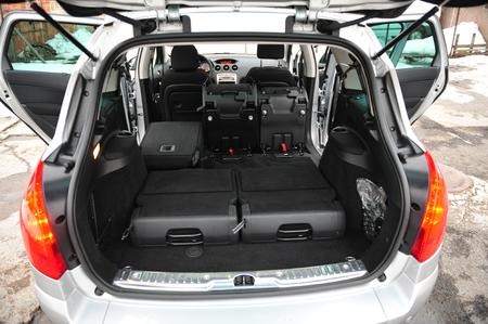 New car inside. Clean car interior. Black back seats transformer in sedan. Car cleaning theme. Standard-Bild - 116293802