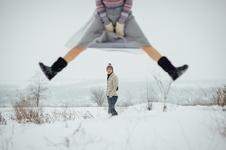 Happy Young Couple in Winter Park having fun.Family Outdoors. love Standard-Bild - 116294062