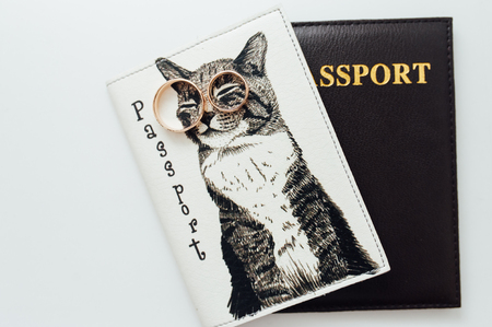 newlyweds wedding rings on a funny passport cover with a cat
