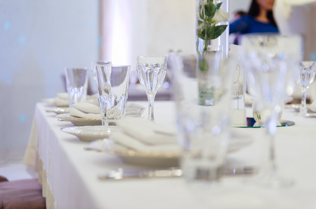 table set for wedding or another catered event Stock Photo