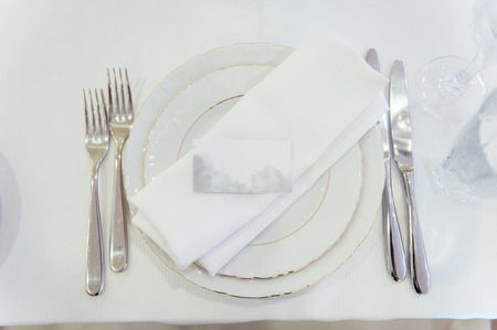table set for wedding or another catered event Standard-Bild