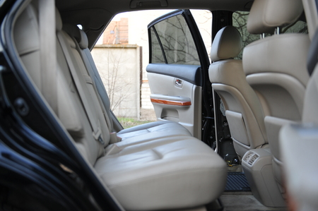 Leather interior design, car passenger and driver seats, clean, angle view side