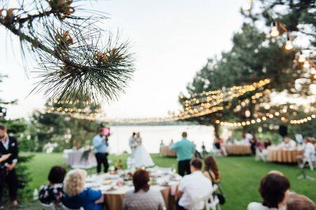 Décor d'ampoule en fête en plein air, fête de mariage Banque d'images