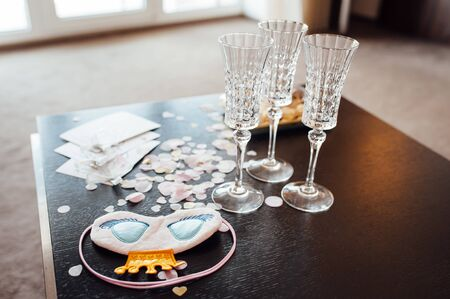 Table set for bachelorette party with glasses of champagne