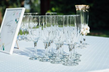 Glasses of champagne for a wedding reception.
