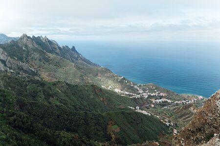 Small settlements between the mountain peaks on the Spanish island of Tenerife