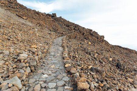 Hiking trail at the peak of Teide volcano. Tenerife, Canary Islands - Spain. 版權商用圖片