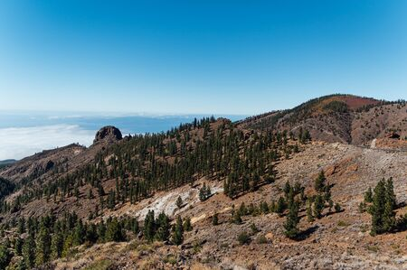 Beautiful panorama of nature above the clouds on the island of Tenerife 版權商用圖片