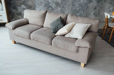 Sofa of tissue in a modern living room 写真素材