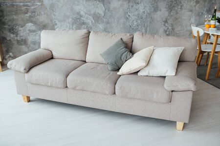 Sofa of tissue in a modern living room 版權商用圖片