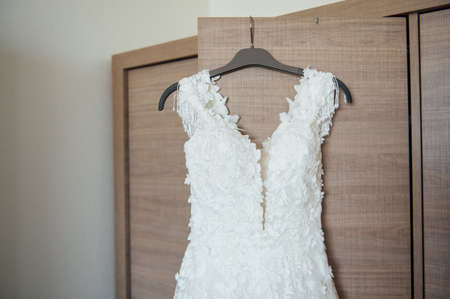 The bride s wedding dress, the wedding morning, the best moments in the life of every girl. Standard-Bild