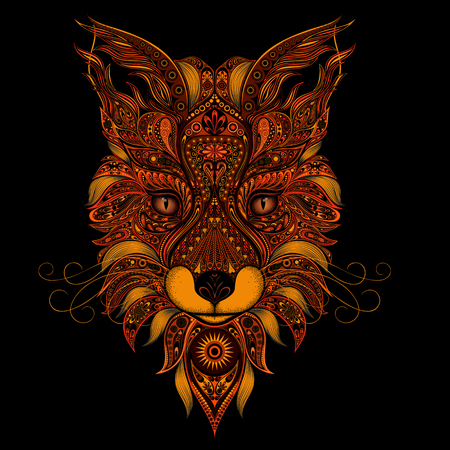 celtic tattoo: Fox red vector on black background