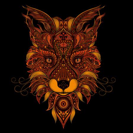 keltische muster: Fox rote Vektor auf schwarzem Hintergrund