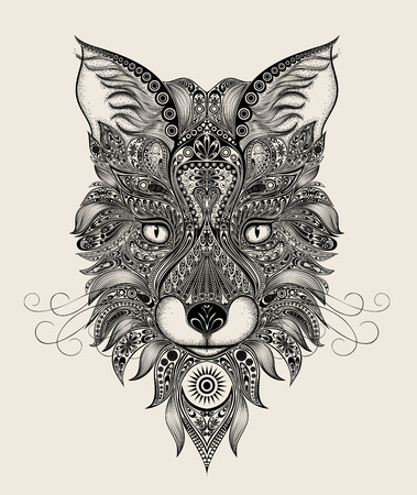 baroque background: Abstract vector Fox pattern