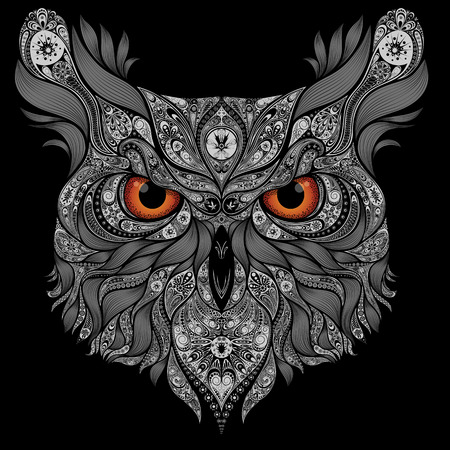 owl illustration: Abstract vector owl with orange eyes Illustration