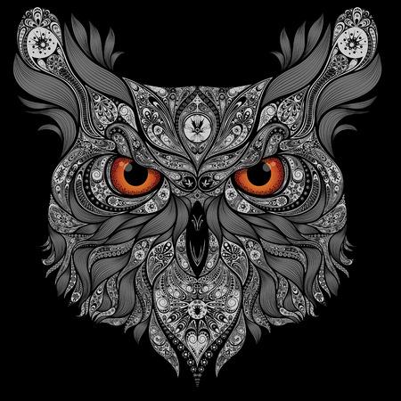 Zusammenfassung Vektor-Eule mit orange Augen