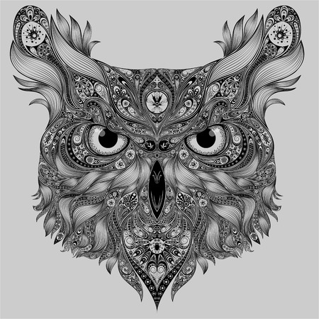 Abstract vector owl with patterns Illustration